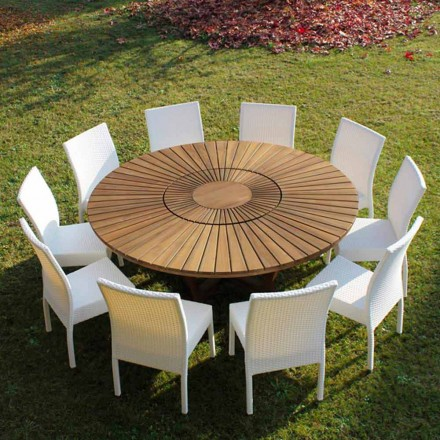 Kulatý stůl v teakového dřeva a pevném reálném tabulce