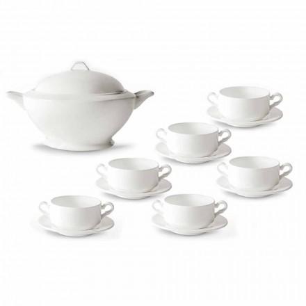 Polévky, turecké a talířky v bílém porcelánu 13 kusů - Samantha