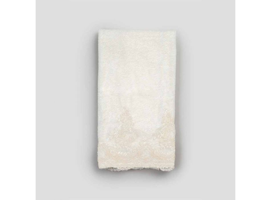 Bavlněná froté osuška s designem lněné směsi s krajkou - Ginova