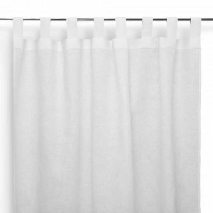 Závěs na prut v čistém krémovém bílém prádle vyrobený v Itálii - slavnostní