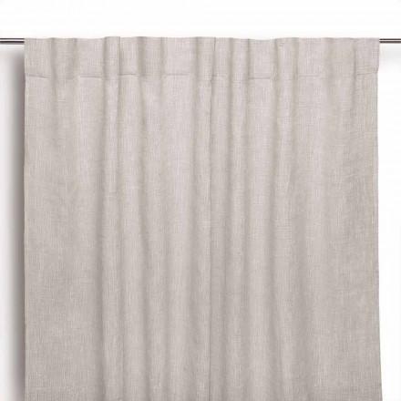 Záclona v přírodním čistém povlečení s knoflíkovými dírkami vyrobenými v Itálii - Blessy