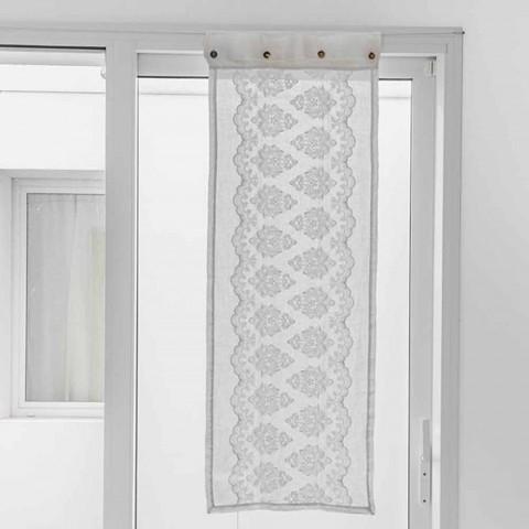 Bílý skleněný závěs ve světlém plátně s výšivkou z gotické bavlny - Gegia