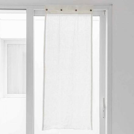 Bílá opona ve světlém plátně a knoflíky perlete - Georgette