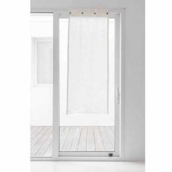 Bílá skleněná opona ve světlém plátně a knoflíky perleti - Georgette