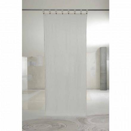 Bílý světelný plátěný závěs s knoflíky luxusního designu - Geogeo