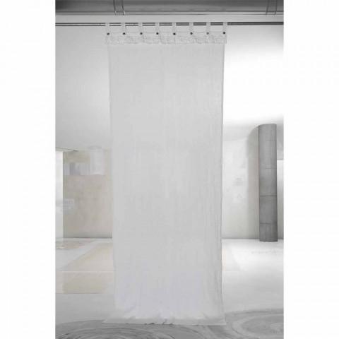 Bílý světelný plátěný závěs s krajkovým elegantním designem vyrobený v Itálii - Geogeo