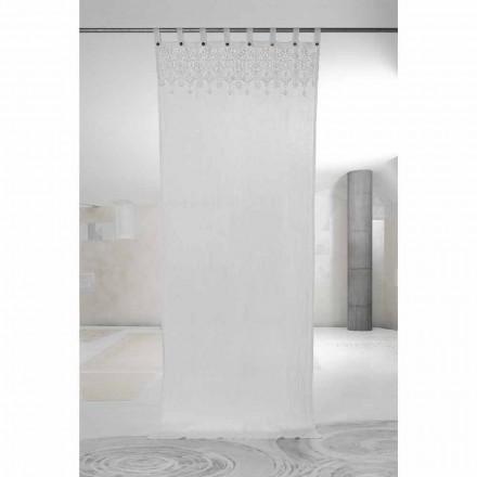 Bílý světelný plátěný závěs s krajkou elegantního designu vyrobený v Itálii - Geogeo