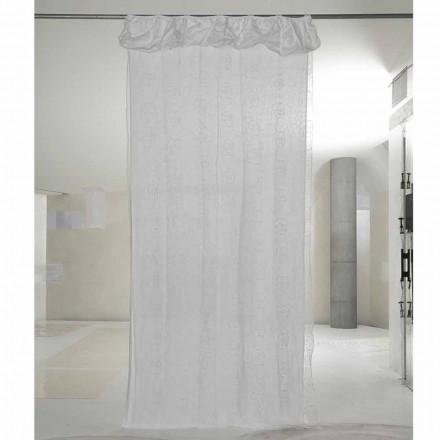 Záclona z bílého lnu a organzy s elegantní výšivkou růží - Mariarosa