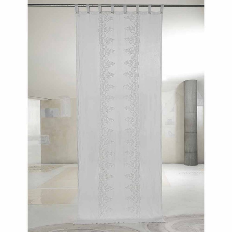 Bílý a lehký plátěný závěs s elegantním designem střední krajky - Geogeo