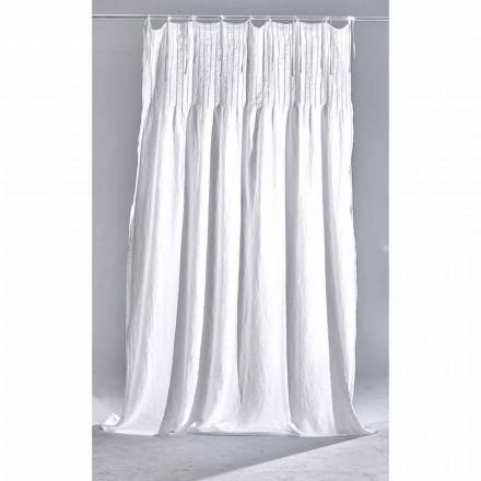 Bílý světlý plátěný závěs s žebrovaným, italským kvalitním designem - Tafta