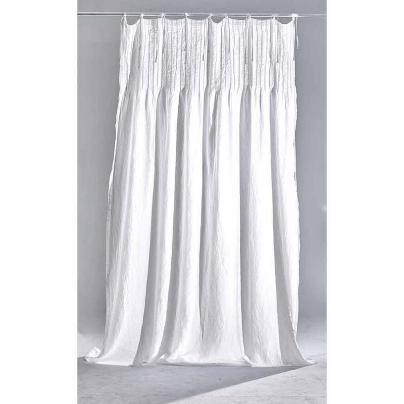 Světle bílý plátěný závěs s italskými kvalitními designovými žebry - Tafta