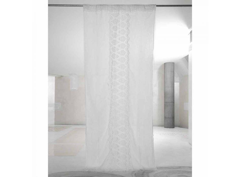 Lehký plátěný závěs s organzou a bílou luxusní italskou výšivkou - Marinella