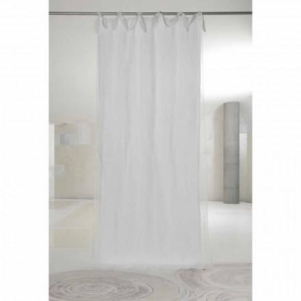 Závěs z bílého plátna a organzy se záložkami, luxusní design vyrobený v Itálii - Ariosto