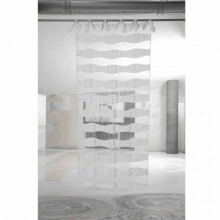 Záclona z bílého lnu a organzy s výšivkou elegantního designu - Oceanomare