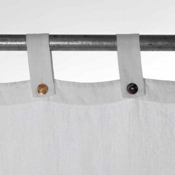 Těžký bílý plátěný závěs s luxusními italskými kvalitními knoflíky - Gorgia