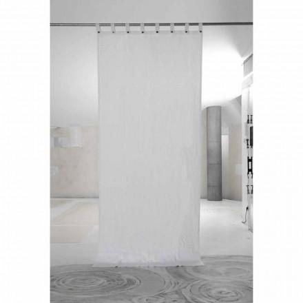 Bílý těžký plátěný závěs s luxusními italskými kvalitními knoflíky - Gorgia