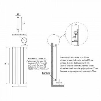Barevný designový nástěnný radiátor z uhlíkové oceli 881 W - datel