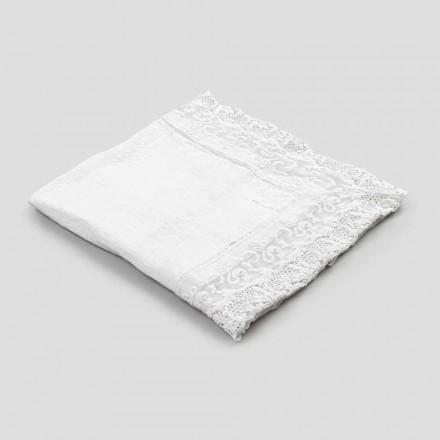 Čtvercový plátěný ubrus s krajkovým bílým luxusním designem vyrobený v Itálii - Olivia