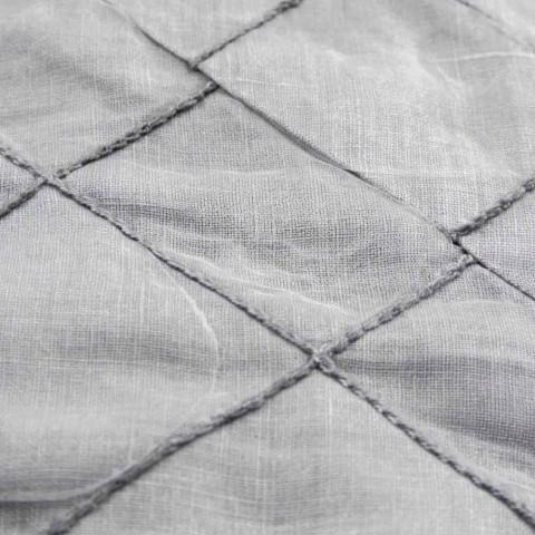 Antracitový plátěný ubrus a hranice s geometrickým dekorem, ručně vyráběné - Dippel