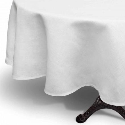 Kulatý bílý krémový ubrus vyrobený ručně v Itálii - Blessy