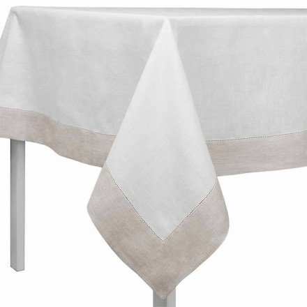 Obdélníkový nebo čtvercový bílý a přírodní plátěný ubrus vyrobený v Itálii - Chiana