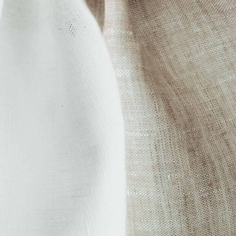 Bílý a přírodní lněný ubrus, obdélníkový nebo čtvercový vyrobený v Itálii - mák