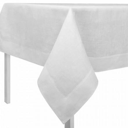 Ubrus bílý lněný obdélníkový nebo čtvercový krém vyrobený v Itálii - mák