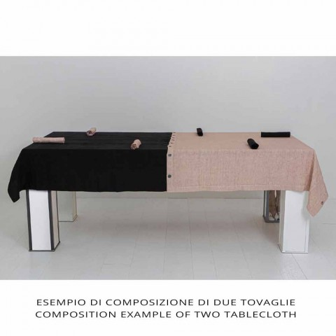 Barevný lněný ubrus s knoflíkovými dírkami a 12 modulárními luxusními knoflíky - Mediterranea