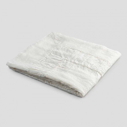 Čtvercový ubrus v bílém plátně, rámu a přeloženém okraji - Mippel