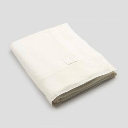 Velký obdélníkový těžký bílý plátěný ubrus s hranami - Davinci