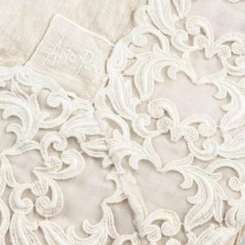 Béžový plátěný obdélníkový ubrus s krajkou Farnese Luxury Artisan - Kippel