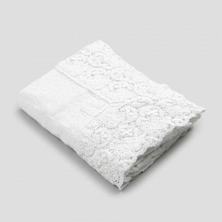 Obdélníkový ubrus z lnu a krajkové bavlny luxusního designu - Olimpia