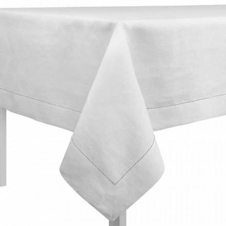Obdélníkový nebo čtvercový ubrus ve smetanově bílém plátně vyrobený v Itálii - Chiana