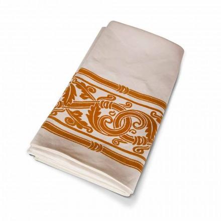Ručně tištěný ubrus vysoké italské řemeslné výroby v bavlně a lnu