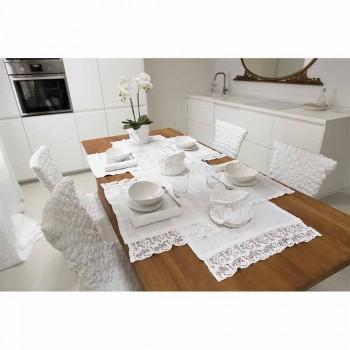 Prostírání v čistě bílém plátně s rámem nebo krajkou vyrobené v Itálii - Davincino