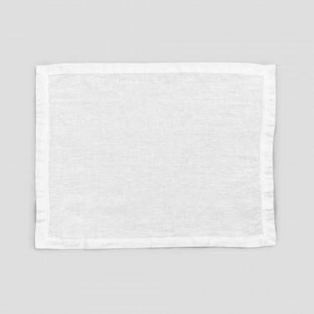2 čistě bílé plátěné prostírání s okrajem nebo krajkou, design vyrobený v Itálii - Davincino