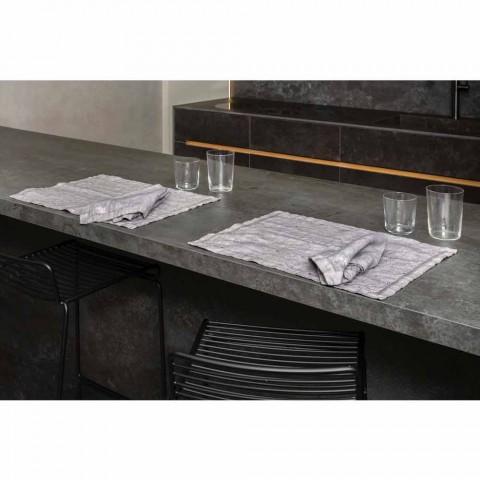 Americké prostírání na snídani v šedém plátně s krystaly 2 kusy - Macanno