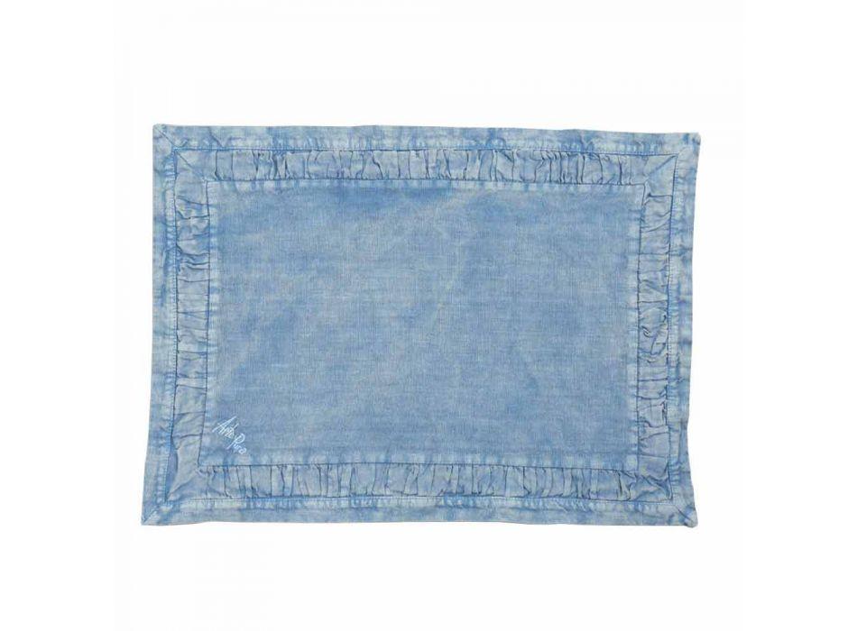 Americké prostírání v modrém plátně nebo na zádech s ražbou, 2 kusy - Milone