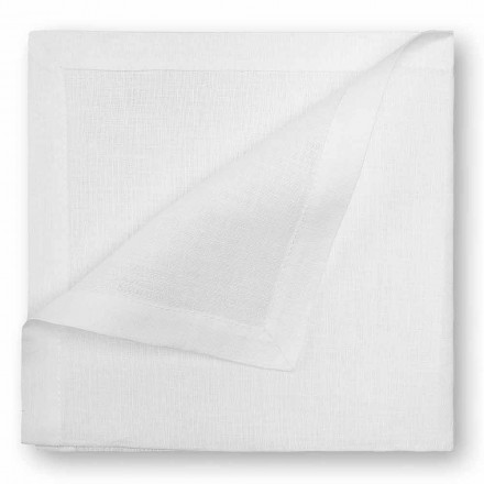 Přírodní nebo krémový bílý plátěný ubrousek vyrobený v Itálii, 2 kusy - mák