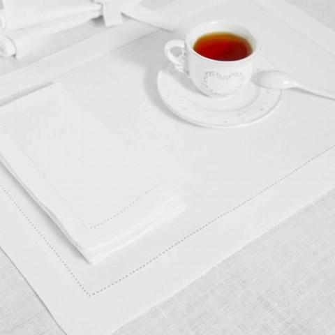 Čistě bílý nebo přírodní bílý plátěný ubrousek vyrobený v Itálii - Chiana