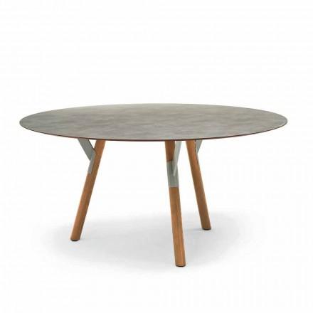 Varaschin odkaz Round venkovní stůl s teakového nohama, H 65cm