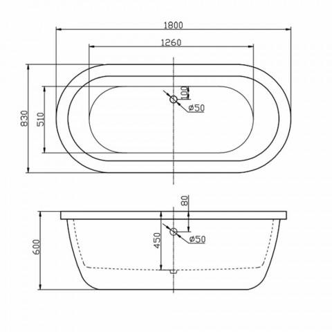 Bath moderní Bílý volně stojící dubna 1800x830 mm