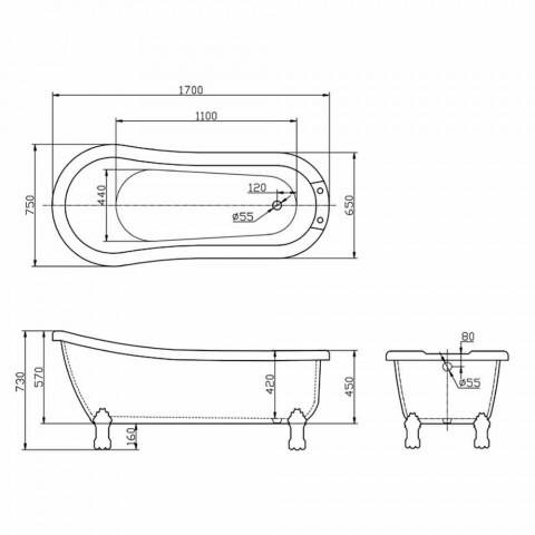 Vana volně stojící moderní design v bílé akrylové Dawn 1700x750mm