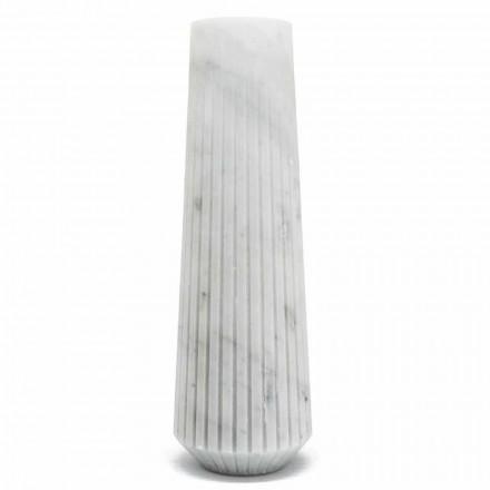 Moderní bílá Carrara Mramorová dekorativní váza Vyrobeno v Itálii - Káhira