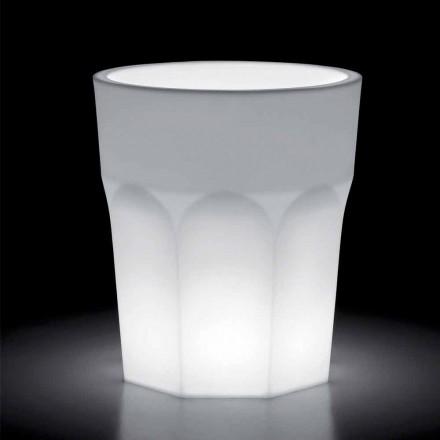 Světlá dekorativní polyethylenová váza s LED světlem vyrobená v Itálii - Pucca