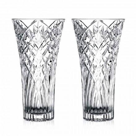 Váza Vintage Design v průhledném ekologickém křišťálu 2 kusy - Cantabile