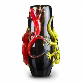 Barevná skleněná váza s gekony ručně vyrobenými v Itálii - Geco