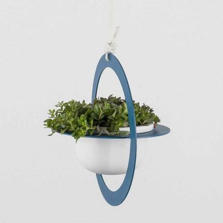 Závěsná váza na květiny z oceli a keramiky vyrobená v Itálii - Leotta