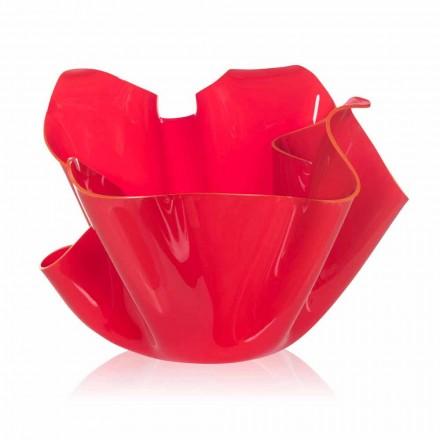 Červená váza indoor / outdoor konstrukce přehozené Pina, made in Italy
