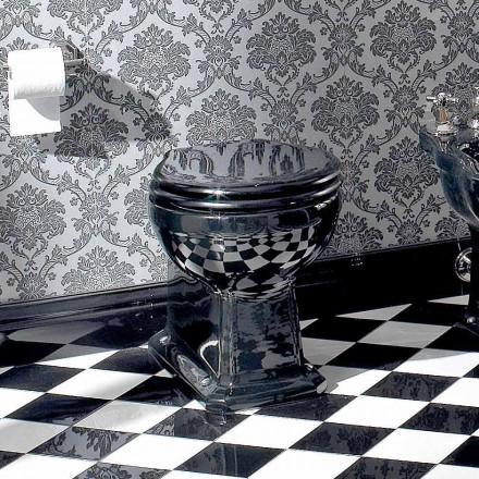 Klasická podlahová váza Wc v černé keramice se sedadlem, vyrobené v Itálii - Marwa